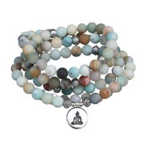 mala bouddha et pierre d'amazonite