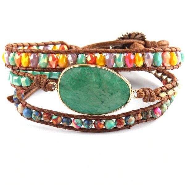 bracelet en cuir et tourmaline verte