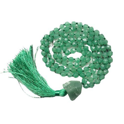 mala en perle à facette d'aventurine verte