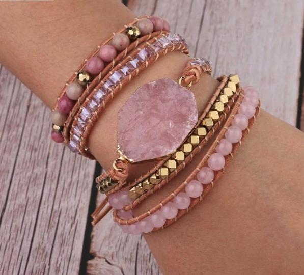 bracelet manchette en quartz et rhodonite