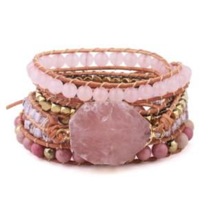 Bracelet Manchette </br> Quartz et Rhodonite