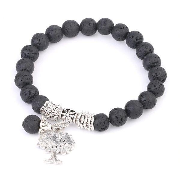 bracelet femme en pierre de lave et arbre de vie