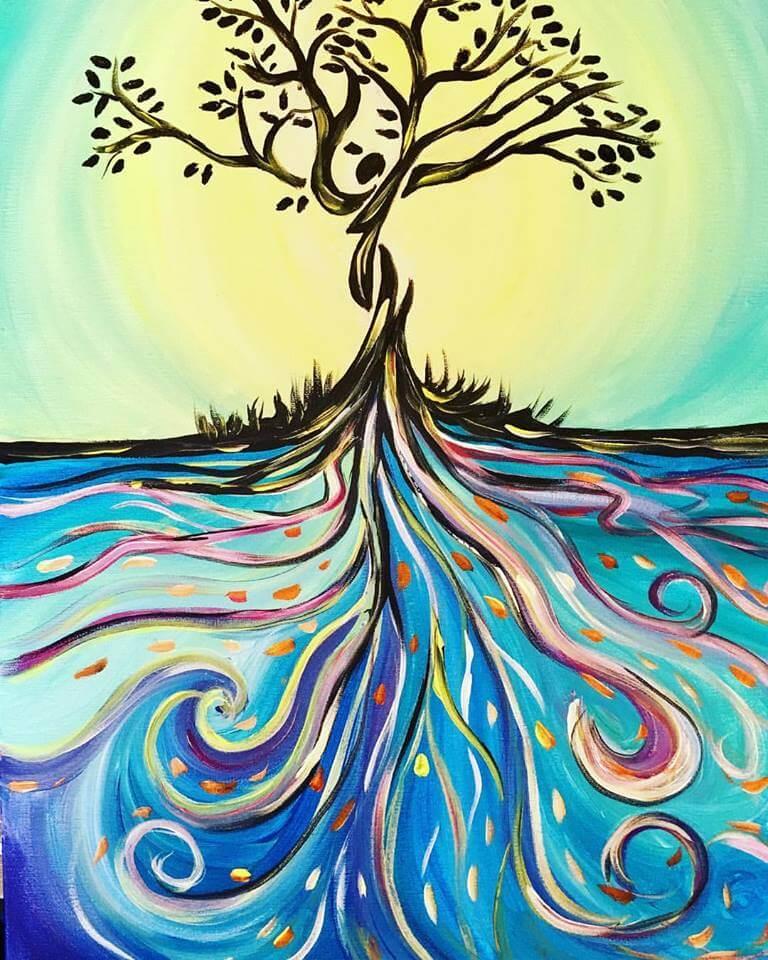 dessin d'un arbre de vie coloré