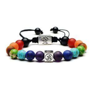 Bracelet 7 Chakras arbre de vie et Ohm