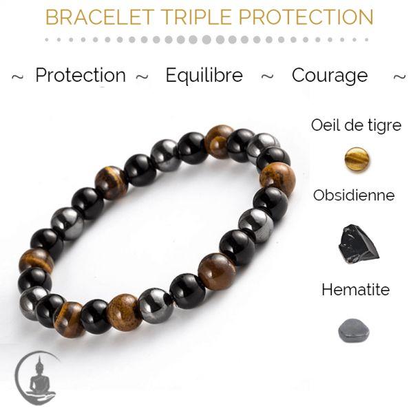 Photo d'un bracelet tripe protection oeil de tigre hematite obsidienne