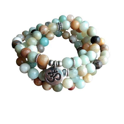 bracelet mala pierre amazonite et signe Om