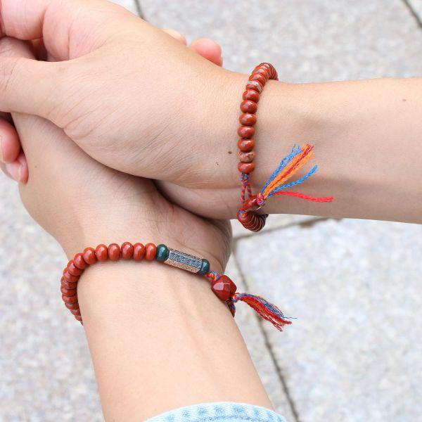 bracelet tibetain en pierre de jaspe rouge