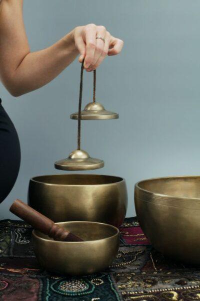 ensemble de bol tibetain en cuivre