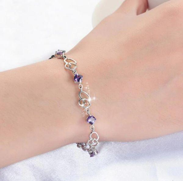 bracelet en argent avec pierre d'amethyste
